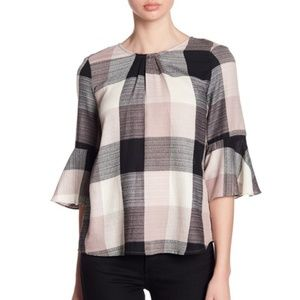 RO & DE Bell Sleeve Plaid Gingham Tie Back Top S
